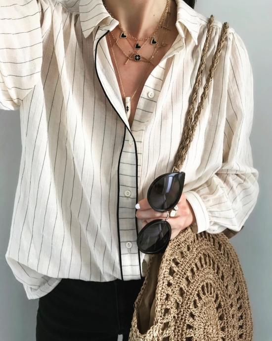 bijou tendance de créateur fait main plaqué or collier corne os cristal look instagram flavie chemise blanche
