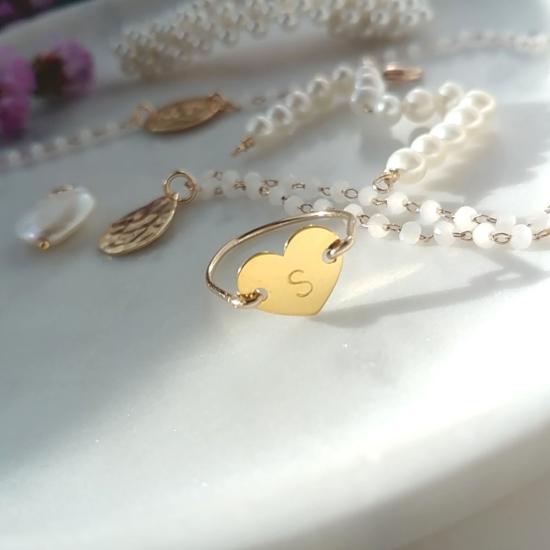 bijoux créateur bague coeur fait main argent 925 or lettre à personnaliser graver