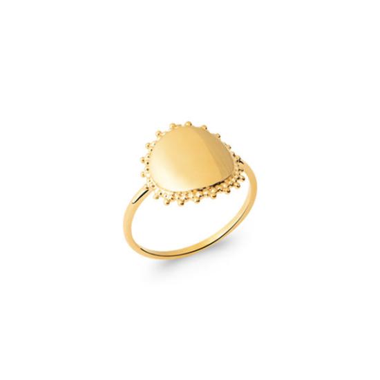 bijoux tendance bague médaille soleil plaqué or lettre initiale à graver à personnaliser