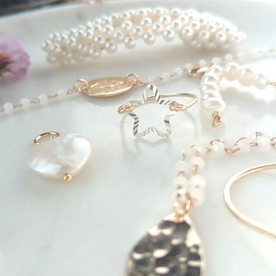 bijoux créateur bague étoile lumineuse et brillante fait main plaqué or argent 925 perles
