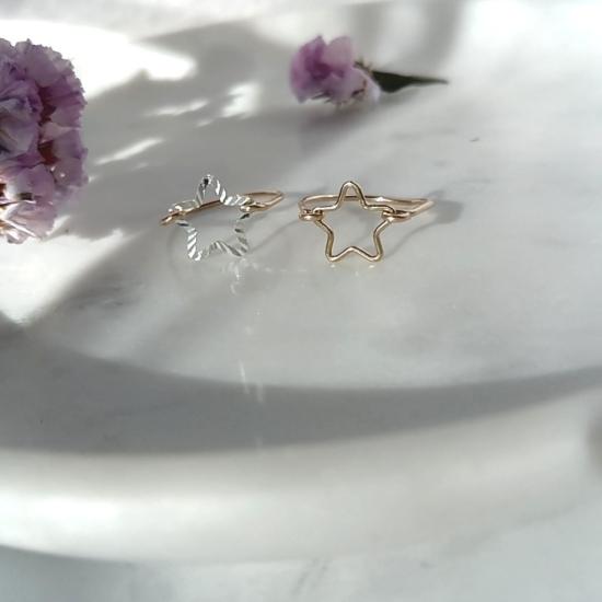 bijoux créateur bague étoile lumineuse et brillante fait main plaqué or argent 925