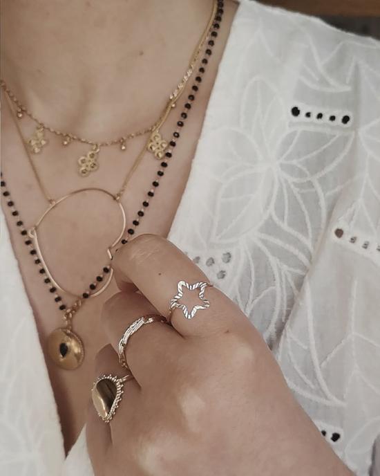 bijoux créateur bague étoile lumineuse et brillante fait main plaqué or argent 925 colliers