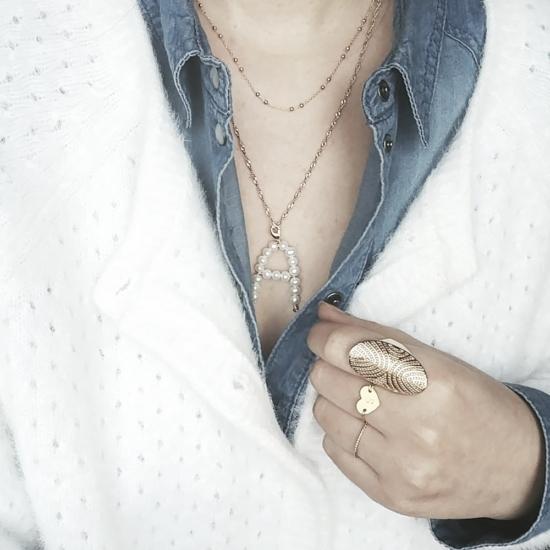 bijoux créateur fait main collier pendentif lettre initiale A en perles