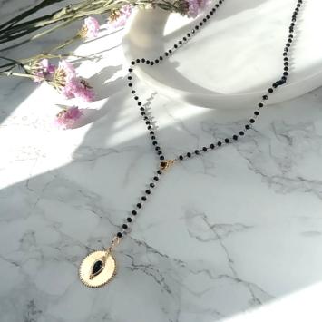 bijou tendance de créateur collier perles noires médaille onyx fait main plaqué or collier