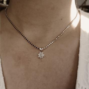 bijoux créateur collier plaqué or coeur soleil pierre de lune gemme