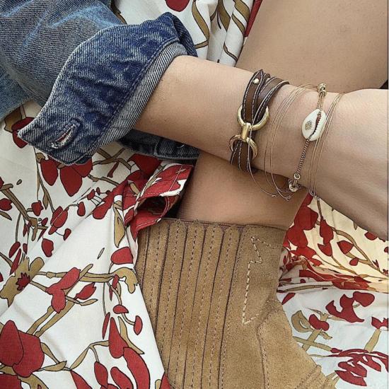 bijoux créateur tendance bohème 7 bracelet fin jonc semainier destroy déformé plaqué or
