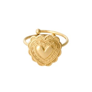 bijoux tendance bague coeur doré acier inoxydable