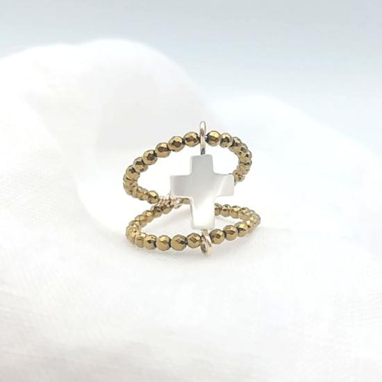 bijoux tendance de créateur fait main plaqué or bague double rang pierre fine gemme hematites dorées croix nacre