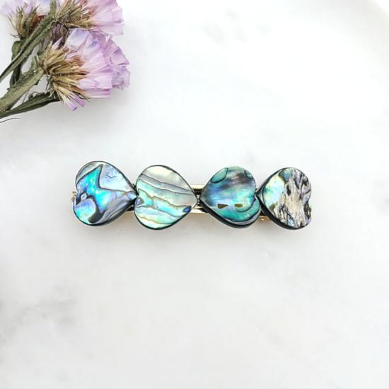 barrette coeur nacre abalone tendance accessoire cheveux fait main en france