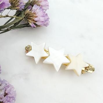 barrette étoiles nacres tendance accessoire cheveux fait main en france