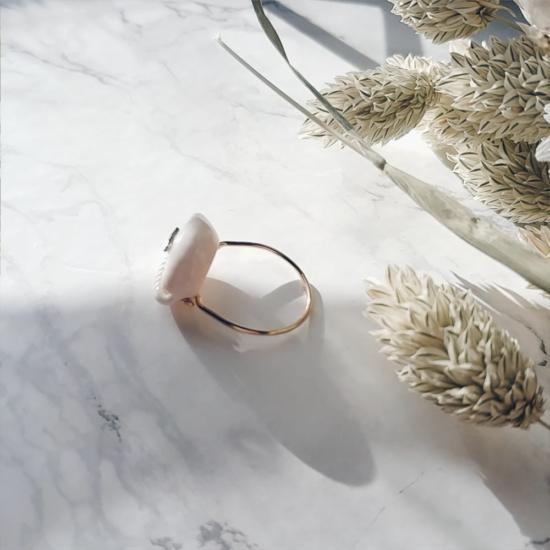 bijou tendance de créateur fait main plaqué or bague coquillage cauri cristal swarovski dos