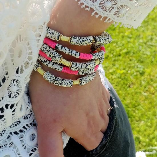 bijoux créateur tendance bohème bracelet jonc heishi surfer fluo fait main