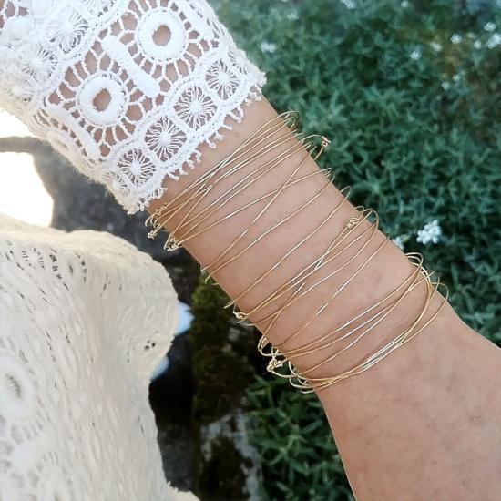 bijoux créateur tendance bohème 7 bracelet jonc semainier destroy plaqué or