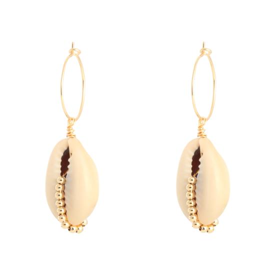 bijoux boucles d'oreilles plaqué or petites créoles coquillage cauri