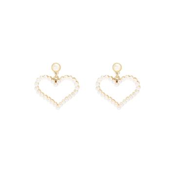 tendance boucles d'oreilles en perles dorées forme de coeur