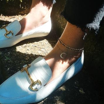 bijoux tendance été bracelet chaîne de cheville étoile et lune noir plaqué or