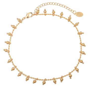 bijoux tendance été bracelet chaîne de cheville perles dorées plaqué or