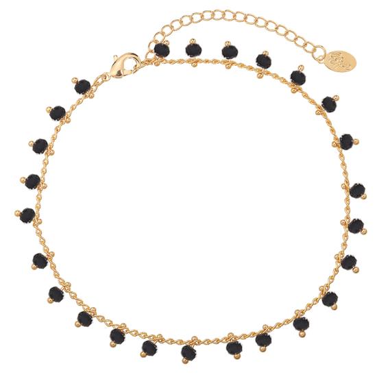 bijoux tendance été bracelet chaîne de cheville perles noir plaqué or