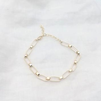 bijoux bracelet grosse maille rectangulaire rock plaqué or