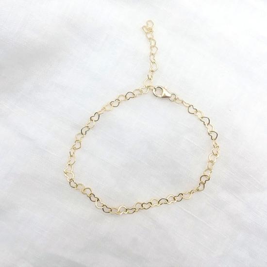 bijoux bracelet maille petits coeurs plaqué or