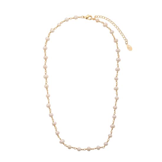 collier choker ras de cou perles et plaqué or