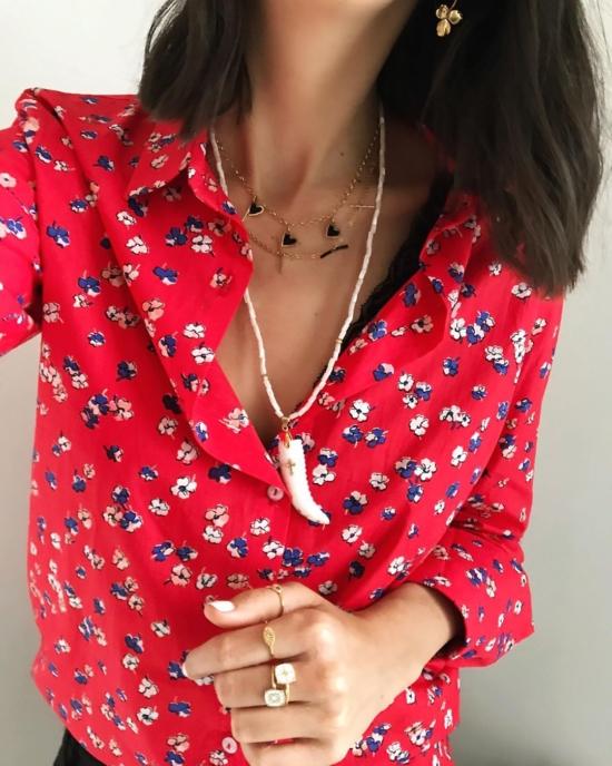 collier coquillage nacre blanc corne et croix or tendance été bijoux créateur fait main look instagram flavie