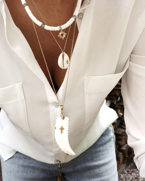 collier coquillage nacre blanc corne et croix or collier heishi surfer coquillage cauri tendance été bijoux créateur fait main look