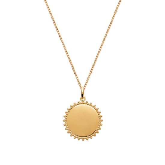 collier pendentif médaille soleil plaqué or