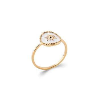 bijoux tendance bague email plaqué or soleil blanc