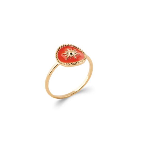 bijoux tendance bague email plaqué or soleil corail