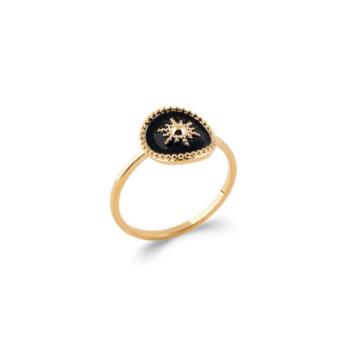 bijoux tendance bague email plaqué or soleil noir