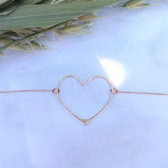bijoux créateur tendance bracelet coeur martelé fait main plaqué or