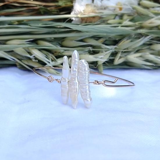 bijoux créateur tendance bohème bracelet jonc plaqué or perle fait main
