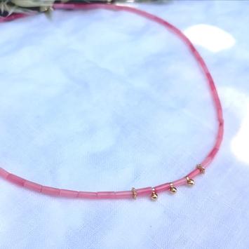 bijoux créateur tendance bohème collier heishi bambou de mer rose fait main