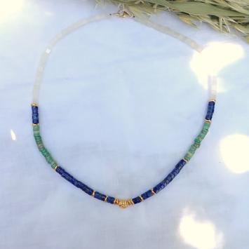bijoux créateur tendance bohème collier heishi pierre gemme précieuse lapis lazuli opale jade fait main