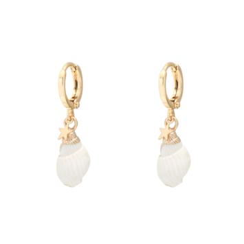 Boucles d'oreilles coquillage cauri doré et blanc plaqué or bijoux tendance été