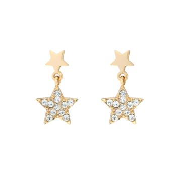 petites boucles puces pendantes etoile et lune brillantes or bijoux tendance