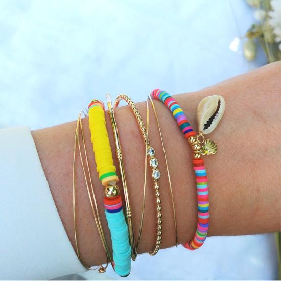 bijoux créateur tendance bohème bracelet jonc plaqué or heishi surfer croix bracelet coeur joncs semainier destroy