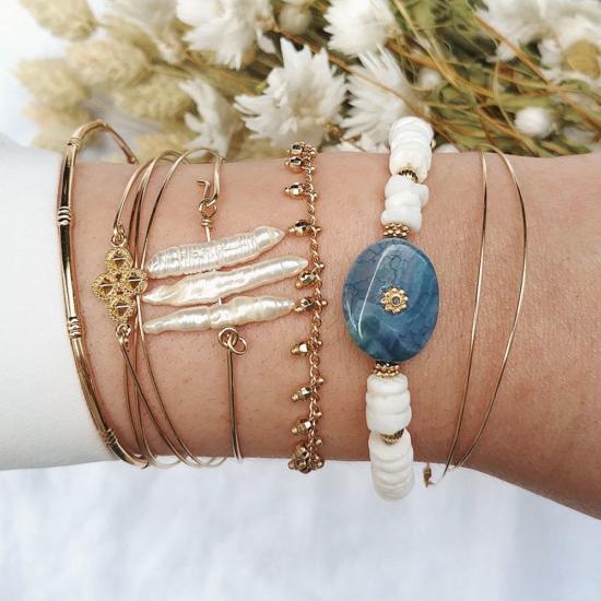 bijoux créateur tendance bohème bracelet jonc plaqué or heishi surfer croix bracelet coeur joncs semainier destroy jonc perles