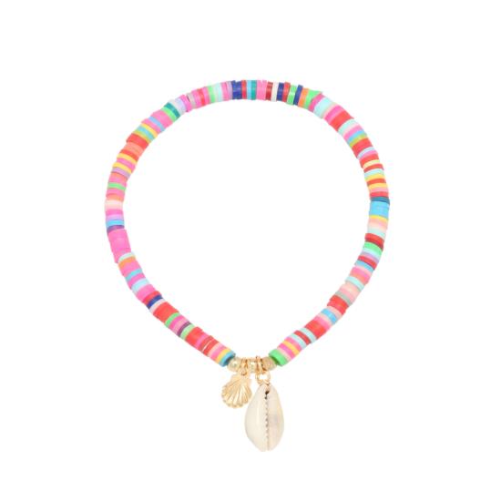 bijoux tendance bohème bracelet heishi surfer fluo coquillage cauri
