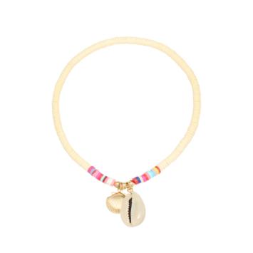 bijoux tendance bohème bracelet de cheville heishi surfer fluo coquillage cauri