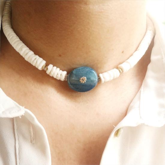collier coquillage pierre semi précieuse agate bleue or collier heishi surfer tendance été bijoux créateur fait main look