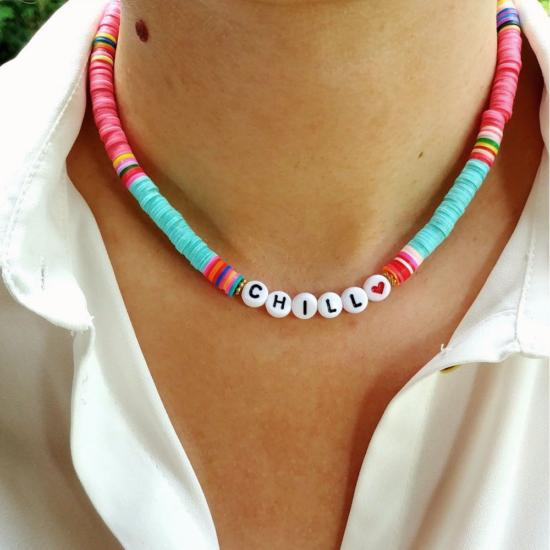 collier heishi surfer coloré chill tendance été bijoux créateur fait main look
