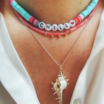collier coquillage nacre blanc or collier heishi surfer coloré tendance été bijoux créateur fait main look