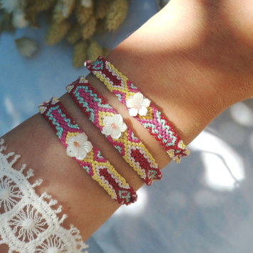 bracelet brésilien tendance été fleur nacre