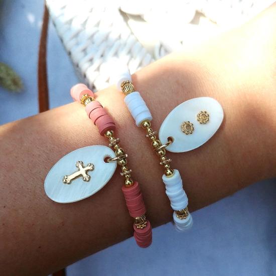 bijoux tendance bracelet heishi surfer pendentif nacre bijoux créateur made in france