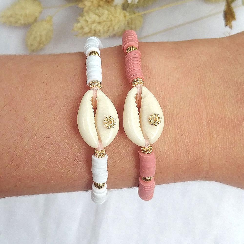 super populaire 2a7dd 22347 Bracelet heishi CYCLADES blanc ou rose