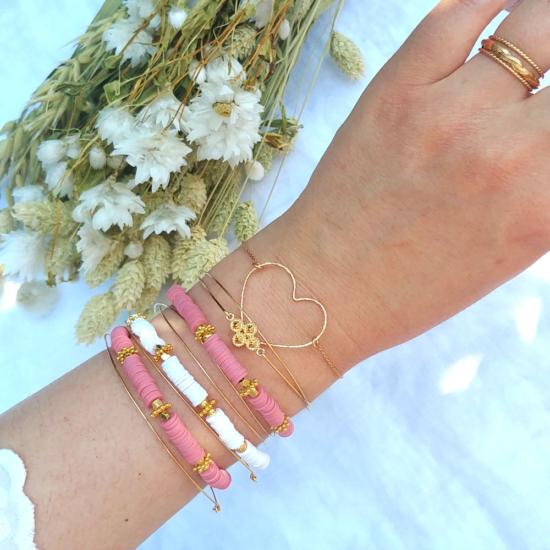 bracelet heishi surfeur blanc et rose perles bohème plaqué or fait main créateur france look bracelets de l'été