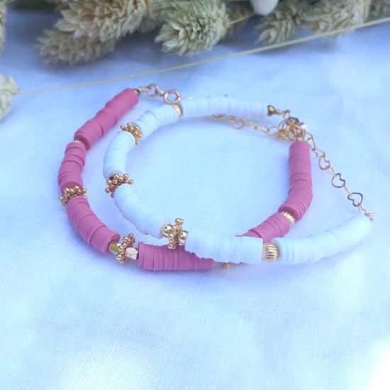 bracelet heishi surfeur blanc et rose perles bohème plaqué or fait main créateur france