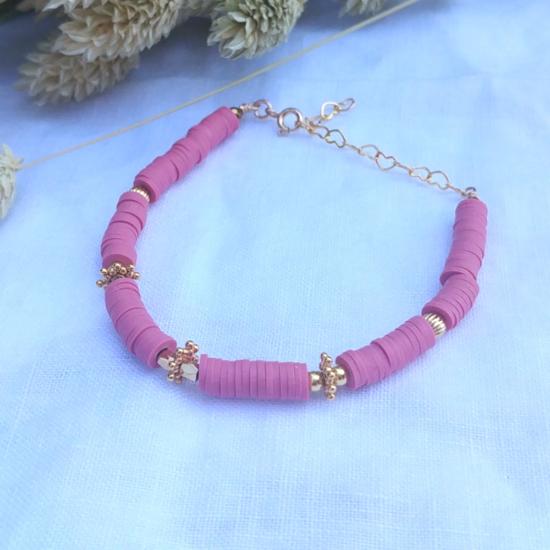 bracelet heishi surfeur rose perles bohème plaqué or fait main créateur france